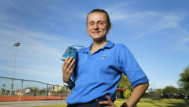 Xavier Prep cross country athlete Sarah Carter Wednesday, Oct. 5, 2016 in Phoenix, Ariz.  Carter is the defending individual champ in Division I.