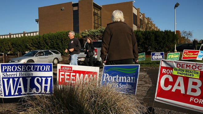 Campaign signs are placed outside of a polling precinct open for early voting on Oct. 25, 2016 in Akron, Ohio.
