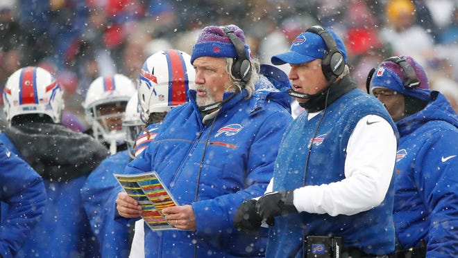 Dec 11, 2016; Orchard Park, NY, USA; Buffalo Bills head coach Rex Ryan (right) and his brother assistant head coach/defense Rob Ryan look on from the sideline during the second half against the Pittsburgh Steelers at New Era Field. The Steelers beat the Bills 27-20.