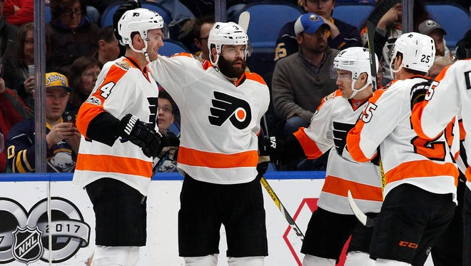 Radko Gudas, center, had three points Tuesday night in Buffalo. The Flyers defense is trying to keep the offense coming.