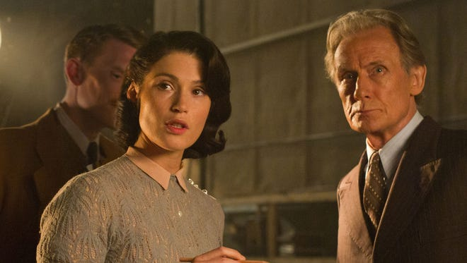 """In """"Their Finest,"""" Catrin (Gemma Artertron) must contend with Ambrose Hilliard (Bill Nighy), an actor whose ego exceeds his talent."""