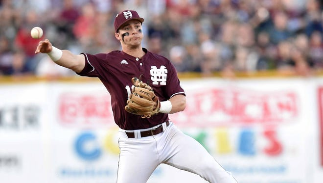 Mississippi State shortstop Ryan Gridley throws out an Ole Miss hitter on Tuesday, April 25, 2017, in Governor's Cup, the final game of the 2017 Mississippi College Series, at Trustmark Park in Pearl, Miss.