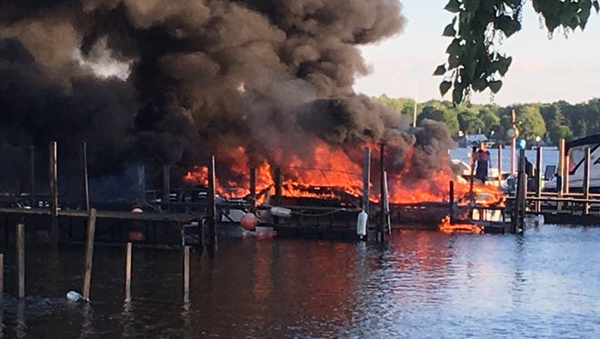 Two boats were destroyed in a fire at Krenzer Marine in Sodus on Friday, June 2, 2017.