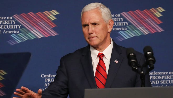 Vice President Mike Pence speaks during the Conference on Prosperity and Security in Central America at the Florida International University on June 15, 2017 in Miami, Florida. The conference brought together government and business leaders from the United States, Mexico, Central America, and other countries to address the economic, security, and governance challenges and opportunities in El Salvador, Guatemala, and Honduras.