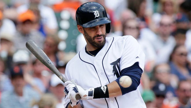J.D. Martinez avoids an inside pitch during the third inning against the Royals at Comerica Park on June 29, 2017 in Detroit.