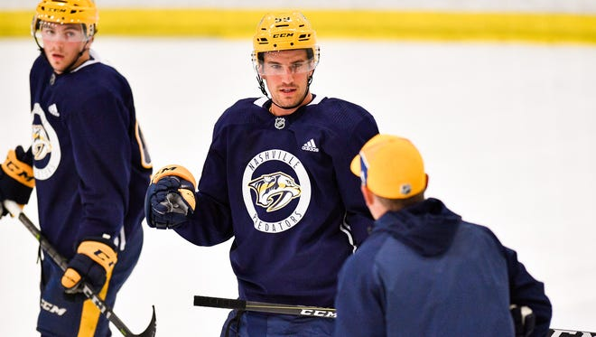 Predators defenseman Roman Josi prepares for a drill during training camp Saturday, Sept. 16, 2017, at Centennial Sportsplex.