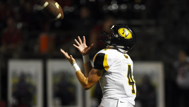 Tri-Valley's Dow Cameron pulls in a touchdown pass against Sheridan Friday night.