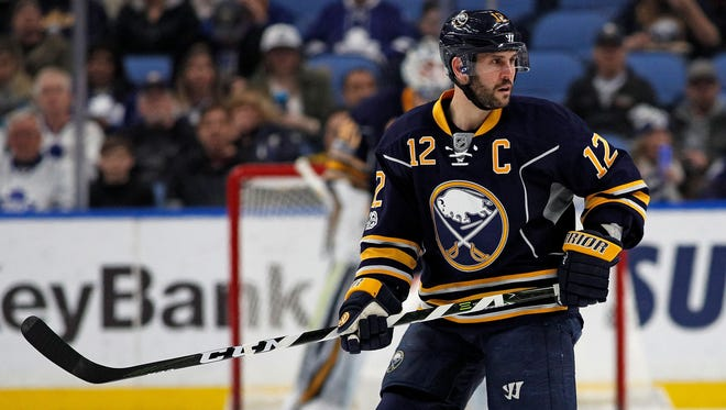 This file photo shows former Sabres right wing Brian Gionta during a game against the Maple Leafs at KeyBank Center in Buffalo.