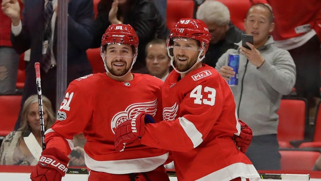 Red Wings forward Darren Helm scored the first goal for the Wings against Washington on Friday night at Little Caesars Arena.