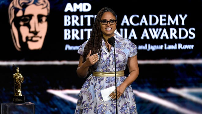Ava DuVernay accepts the John Schlesinger award for excellence in directing at the BAFTA Los Angeles Britannia Awards on Oct. 27.