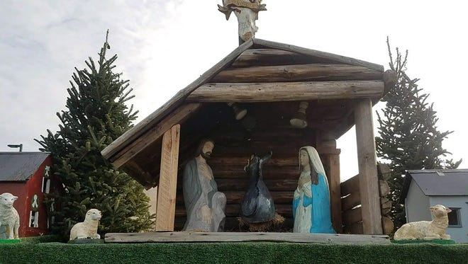 The crèche on display at St. Patrick's Catholic Church in Menasha, Wis., was missing a crucial element Nov. 27, 2017, after a thief walked off with the baby Jesus figure.
