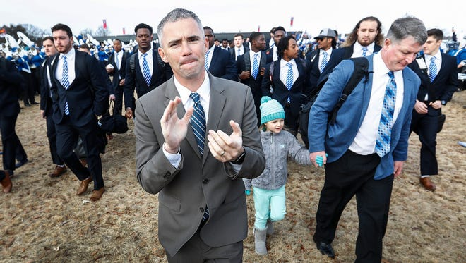 Memphis coach Mike Norvell takes part in the Tiger Walk before taking on Iowa State in the AutoZone Liberty Bowl last season.