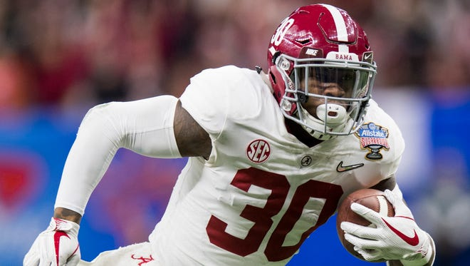 Alabama linebacker Mack Wilson (30) scores a touchdown on an interception against Clemson in the Sugar Bowl at the Superdome in New Orleans, La. on Monday January 1, 2018. (Mickey Welsh / Montgomery Advertiser)