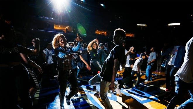 Dancers during rapper iHeartMemphis performance at Memphis Madness at the FedExForum Wednesday, Oct. 12, 2017.