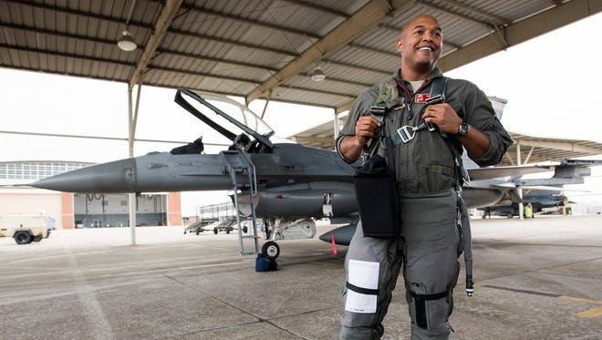 Major Rich Peace prepares to fly in his F-16 at the 187th Fighter Wing of the Alabama Air National Guard in Montgomery, Ala. on Thursday February 14, 2018.