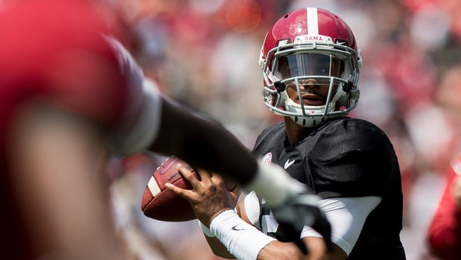 Alabama quarterback Jalen Hurts (2) throws during the A-Day Game at Bryant-Denny Stadium on the University of Alabama campus in Tuscaloosa, Ala. on Saturday April 21, 2018.