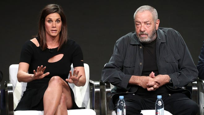 'FBI' star Missy Peregrym, left, and executive producer Dick Wolf talk about the new CBS drama at the Television Critics Association summer press tour on Sunday in Beverly Hills, Calif.