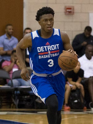 Detroit Pistons guard Stanley Johnson dribbles against the Miami Heat during an NBA summer league game in Orlando on July 6, 2015.