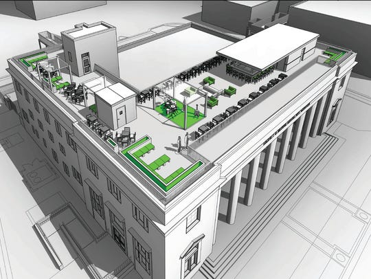 An artist's rendering of the planned rooftop bar and open-air venue at Sidney & Berne Davis Art Center in downtown Fort Myers.