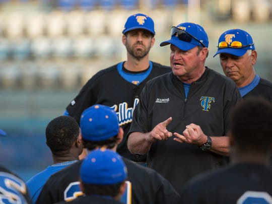 TCC baseball coach Mike McLeod talks to his team after a game versus Northwest Florida State College.