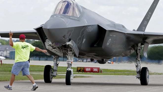 The Lockheed Martin F-35 Lightning II during AirVenture 2015 at Wittman Regional Airport on July 22, 2015 in Oshkosh, Wis. Wm.Glasheen/Post-Crescent Media