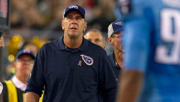 Titans interim coach Mike Mularkey looks on in the second quarter against the Jaguars at EverBank Field.