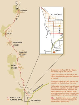 Road closures scheduled for Saturday's St. George Marathon. For more details visit www.stgeorgemarathon.com.