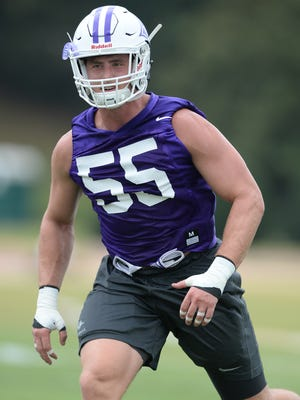 Furman linebacker Carl Rider (55) during practice on Thursday, August 4, 2016.