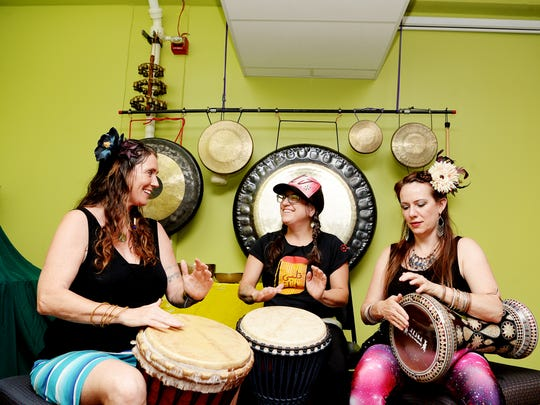 From left, Hope Medford, Jessie Lehmann and Brandi Mizilca will perform at the Asheville Percussion Festival.
