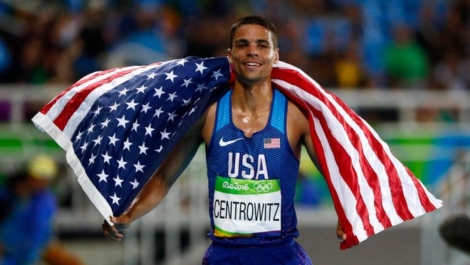 Matthew Centrowitz celebrates winning the men's 1,500 final during the Rio 2016 Summer Olympic Games at Estadio Olimpico Joao Havelange on Aug. 20.