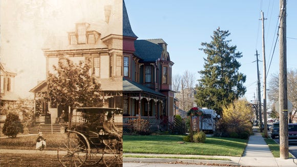 The Lady Linden in a split photo with a 19th-century view mixed with a 2014 photo.