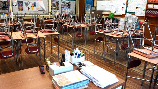 No one knows yet if  Norwich Free Academy students will be entering this empty classroom in the Tirrell Building this fall as all Connecticut school districts have to wait on progress against the coronavirus.