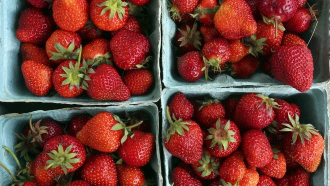 Fresh strawberries at Doran's Farm Market from New Albany, Ohio, at the Westerville Farm Market on May 17, 2017.