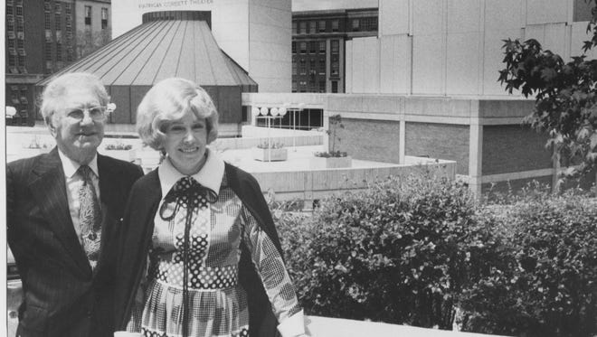 J. Ralph and Patricia Corbett in 1972, in front of CCM's Patricia Corbett Theater and Corbett Auditorium