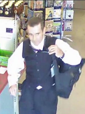 Police are searching for a white male suspect who they say stole a saw from a Merritt Island store on January 29.