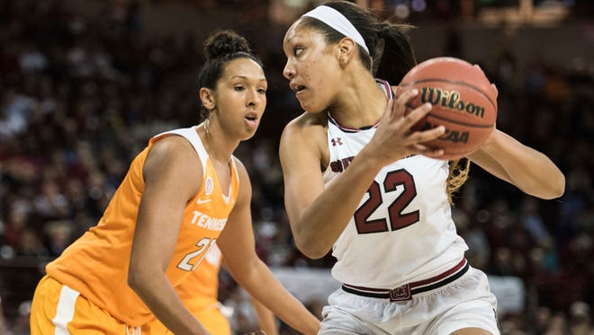 South Carolina forward A'ja Wilson (22) drives to the hoop against Tennessee center Mercedes Russell (21) during a game last season.