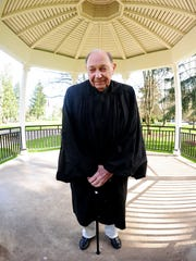 Richard Barber, a former circuit court judge, at the Capitol gazebo on Tuesday, February 24, 2015, in Salem. Barber recently performed his 5000th wedding ceremony.