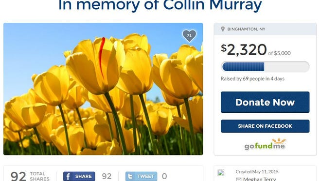 This is how the GoFundMe page for Collin Murray appeared on May 16, 2015.