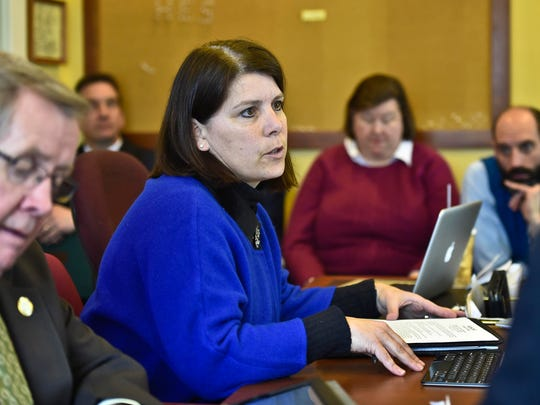 Betsy Bishop, president of the Vermont Chamber of Commerce, testifies about Gov. Shumlin's proposed payroll tax to fund health care initiatives before the House Ways and Means Committee at the Statehouse in Montpelier on Wednesday, February 4, 2015.