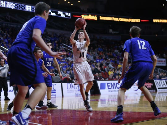 North Linn's Jake Hilmer shoots the ball during the state boy's basketball 1A semifinal between North Linn and Gladbrook-Reinbeck on Thursday, March 9, 2017, in Wells Fargo Arena.