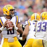 Steve Mitchell/USA TODAY Sports LSU Tigers quarterback Anthony Jennings (10) is closer to having charges dropped against him. Jan 1, 2014; Tampa, Fl, USA; LSU Tigers quarterback Anthony Jennings (10) throws a pass against Iowa Hawkeyes during the second half at Raymond James Stadium. Mandatory Credit: Steve Mitchell-USA TODAY Sports