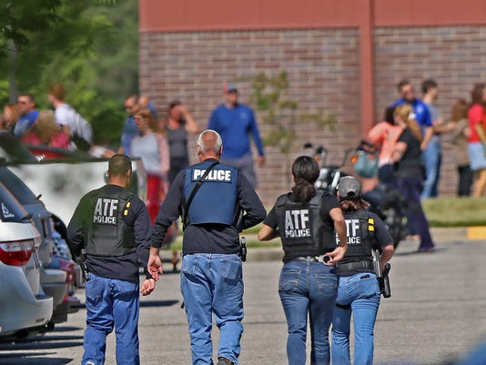 Scene at Noblesville High School after an active shooter at the nearby Middle School, Friday, May 25, 2018.