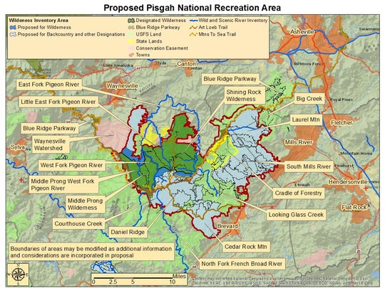 This map shows a proposed Pisgah National Recreational Area.