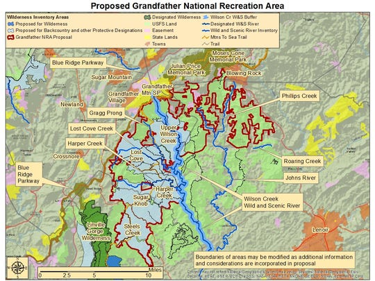 This map shows a proposed Grandfather National Recreation area.
