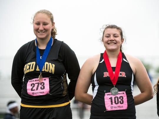 Red Lion's Madisen Kling, left, and Dover's Emily Eckard