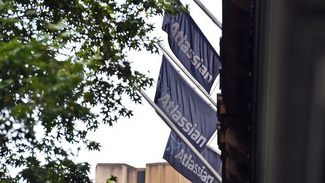 Flags adorn the head office of Australian tech start-up Atlassian.