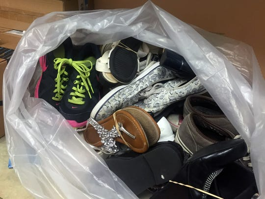 A bag of donated shoes at the Cumberland County SPCA.
