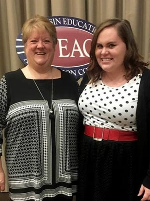 Maggie Beeber, School of Education coordinator of undergraduate advising (left) at UW-Stevens Point, is shown with Elizabeth O'Leary, president of the Student Wisconsin Education Association on campus.