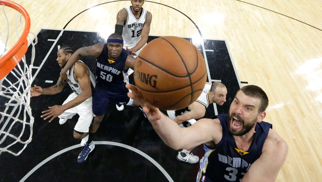 Memphis Grizzlies center Marc Gasol (33) drives to the basket against the San Antonio Spurs during the first half of Game 5 in the first-round series on April 25, 2017.