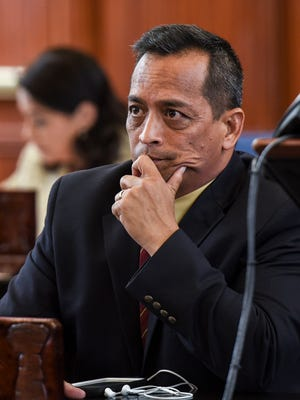 Sen. Frank Aguon Jr. on the session floor at the Guam Congress Building on April 27, 2017